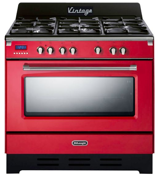 Delonghi 90cm Gas Hob Electrical Oven Red Vintage