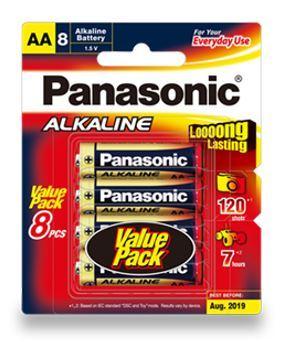 Panasonic AA Alkaline Batteries LR6T8B