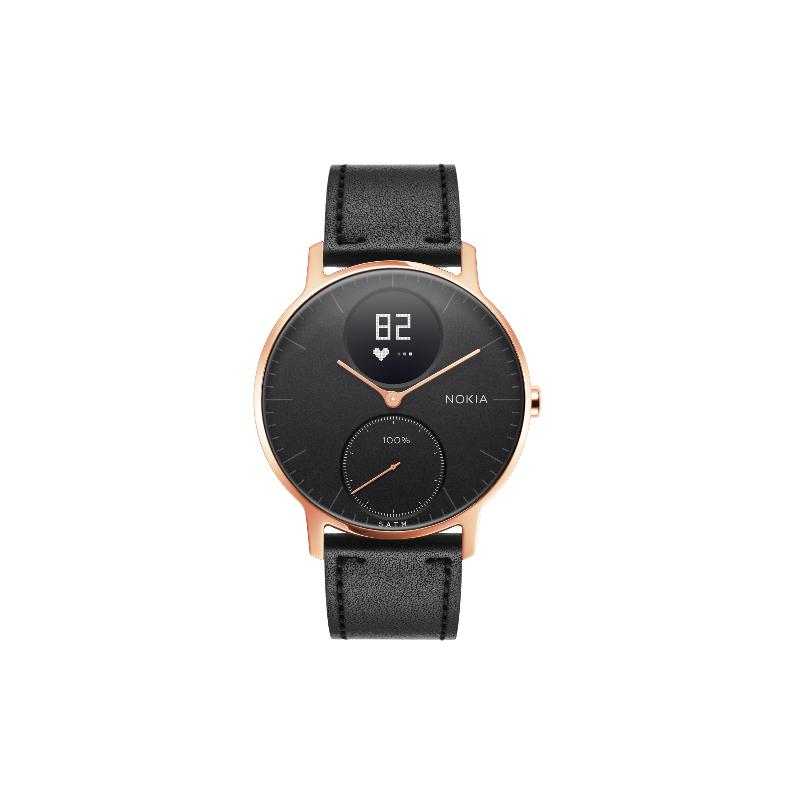 3328efb9c35 36blkrgbblkl withings steel hr hybrid smartwatch 36mm rose gold black  leather