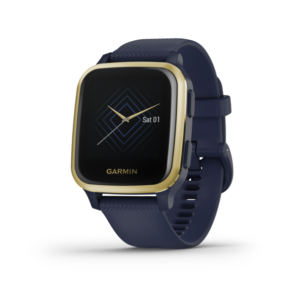 Image of Garmin Venu SQ - Music Edition, Light Gold Aluminium Bezel With Navy Case And Silicone Band
